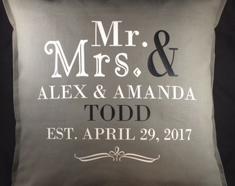 Mr and Mrs Pillow, Wedding Gift, Anniversary Gift, Wedding Pillow, Wedding Decor, Wedding Gifts Personalized Pillow, Mr and Mrs
