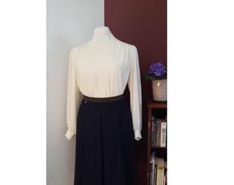 ivory silk blouse, vintage silk blouse, vintage ivory blouse, 80's blouse, elite blouse, cream color blouse, vintage cream blouse,