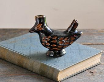 Vintage Bird Whistle, Primitive Ceramic Bird Figurine, Black Ceramic Bird Whistle, Hand Made Pottery