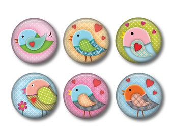 Bird Magnets, Bird Lover Gift, Fridge Magnets, Button Magnets, Kitchen Magnets, Nature Magnets