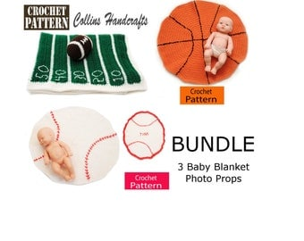 PATTERNS BUNDLE - 3 Baby Sports Blankets Photo Props - Football Field, Basketball, Baseball Blankets, for a newborn photo prop, easy
