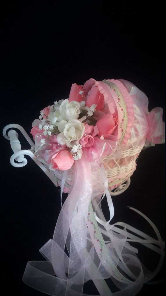 Baby carriage centerpiece pink by carolynsbouquets