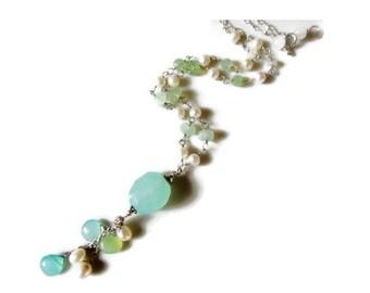 Aqua chalcedony necklace, multi gemstone cascade necklace, pearl necklace, sterling silver gemstone necklace, girl friend jewelry gift