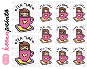 A448 | TEA TIME Keenachi Repositionable Stickers Perfect for Erin Condren Life Planner, Filofax, Plum Paper & other planner or scrapbooking