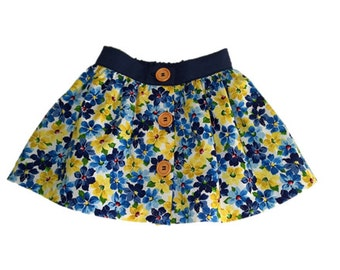 girls skirt SIZE 3,  Evie skirt, button up skirt, elasticised waist skirt,  girls floral skirt,