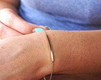 Gold Bar Bracelet, Dainty Gold Bar Bracelet, Minimal Gold Bracelet Geometric Bracelet Layering Bracelet Gold Chain Bracelet Simple Geometric