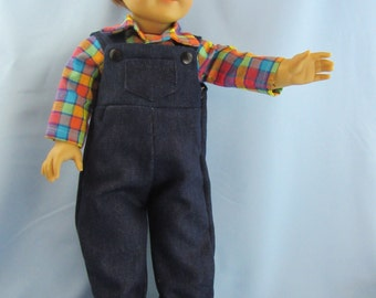 SALE!! American 18 Inch Doll  Clothes Outfit Blue Denim Overalls  Shirt Girl Boy Doll
