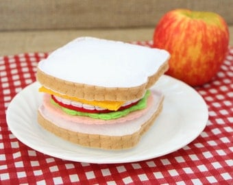 Felt Play Food Turkey Sandwich Set - Bread, Turkey, Tomato, Lettuce, Onion, Cheese
