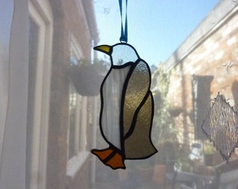 Stained glass Penguin suncatcher