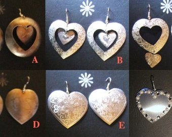 Heart-shaped disc earrings made from recycled aluminium cans with silver hooks for pierced ears