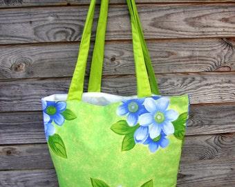 Bright green Floral Tote Bag, 100% Cotton Bag, Grocery Reusable Bag, Eco-friendly, Natural Beach Bag, Shopping Bag