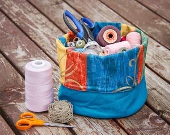 Blue Storage Basket Nursery Storage Home Organization Fabric Pouch Fabric Basket in Blue Fleese Shipping Free