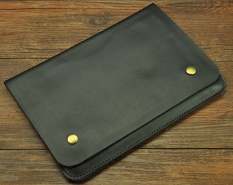 Black Leather Macbook Air 13 inch Case New Macbook Pro 13 Sleeve Leather Laptop Case Padded Handmade Macbook Cover