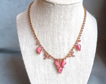Old Hollywood Vintage Pink Milk Glass and Rhinestone 1950's Necklace - Estate Jewelry