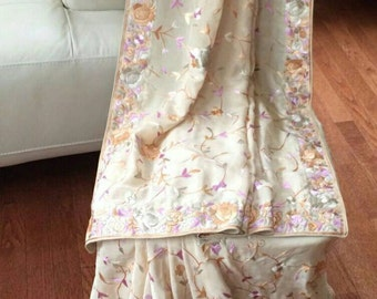 Cream All Over Parsi Gara Hand embroidered saree on Pure Italian Crepe (Brand New)~FREE SHIPPING