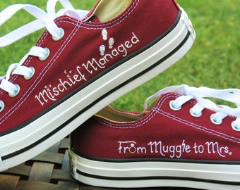 Custom Converse, Mischief Managed, mischief managed shoes, Marauder's Map shoes, muggle shoes, Muggle, Muggle to Mrs, Potter shoes, Hermione