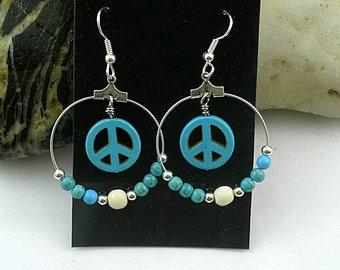 Peace Sign Turquoise Hoop Earrings - Sacred Symbols