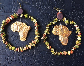 Mama Africa hoop earrings with unakite beads . Handsculpted natural clay africa pendant
