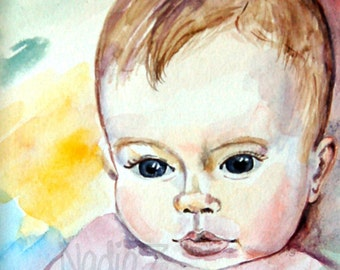 Child Watercolor Portrait, Custom Baby Portrait, Custom Child Portrait, Baby Portrait from Photo, Custom Nursery Decor