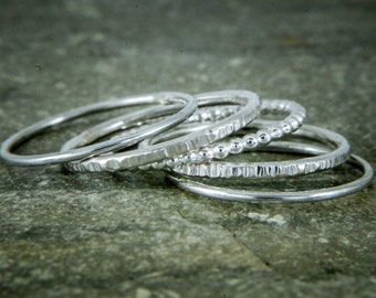 Stacking ring set, five stacking rings, stackable dainty rings, hammered rings,  beaded silver ring