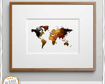 World map, world, image, Earth, water color, Brown, with gift tags, image do it yourself immediately download, world, globe, map, travelers