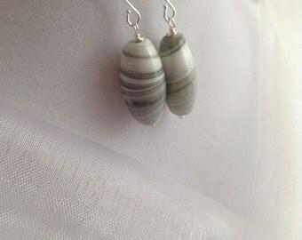 Raving Retro Grey Marble Czech Glass Dangle Earrings