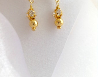 Crystal and Gold Ball Dangle Earrings