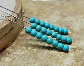 Blue Turquoise Tiny Round Beads, 24
