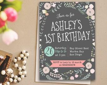 Printable kids Birthday Invitation, Chalkboard Kids Invitation, Kids Party Invitation, Baby Shower Invitation, Garden Party Invitation