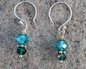 Blue and Green Crystal Earrings