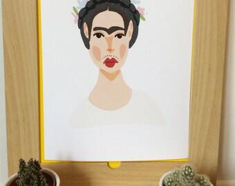 Frida Kahlo Art Print, Frida Kahlo Illustration, Frida Digital Art, Girl Power Print