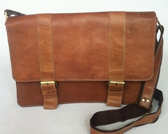 "Large Moroccan Leather Briefcase Satchel fits Macbook Pro 13"", Messenger bag"