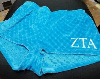 Zeta Tau Alpha Minky Dot Sorority Sleep Shorts
