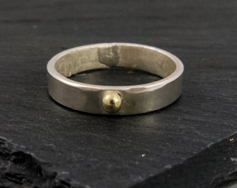 Ring, sterling silver, yellow gold