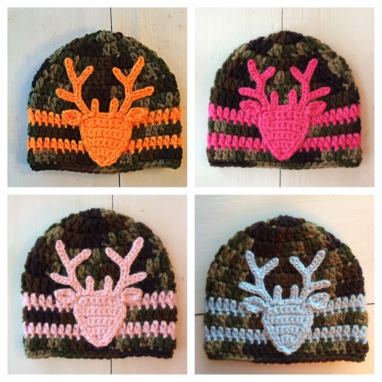 Crochet Baby Hunting Hat Pattern : Crochet Camo Hat Deer Hat Camouflage Baby by ...