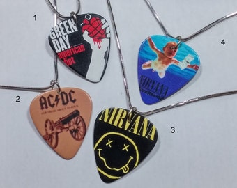 guitar pick necklace/guitar pick jewelry/nirvana/ac-dc/green day/guitar pick pendant/nirvana pendant/nirvana necklace/green day necklace