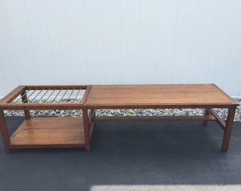 Mid Century Danish Style Teak Coffee Table With Brass Rods