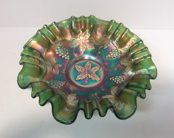 Antique Millersburg radium green grapes and leaves three and one carnival glass dish