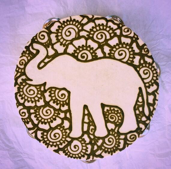 Mehndi Elephant Head : Elephant tambourine henna mehndi music