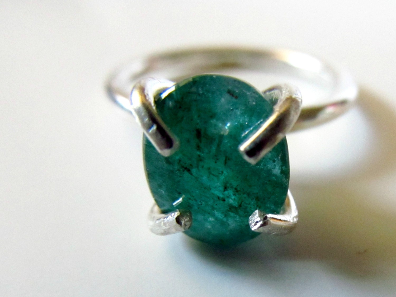 emerald ring sterling silver green gemstone ring may