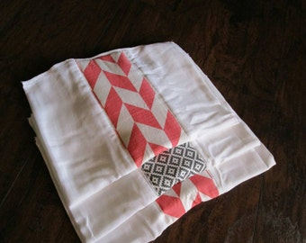 Set of 3 baby burp cloth, cloth diaper burp cloth, burp rag, baby girl burp cloth, coral and gray, baby accessories, Aztec print,herringbone