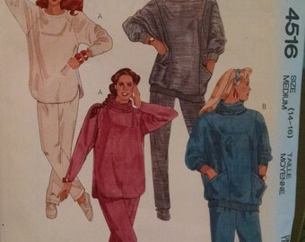 mccall's 4516 vintage women's sewing pattern sweatshirt and pants