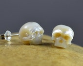 Large Hand Carved Pearl Skull Stud Earrings - Sterling Silver Earrings - Skull Jewelry - Pearl Earrings - Valentine's Jewelry - Gift for Her