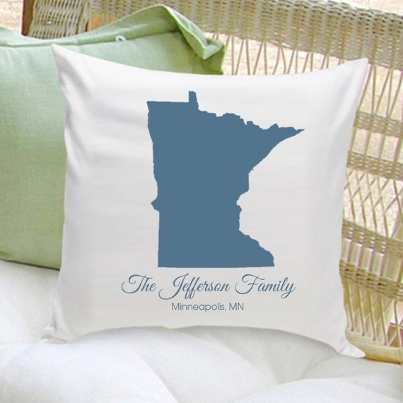 Personalized Family Throw Pillow : Personalized Family State Throw Pillow Decorative by WizkickGifts