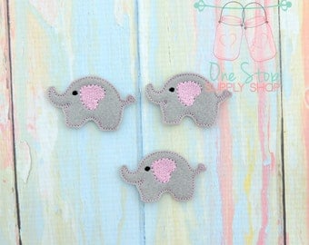 Baby elephant feltie - Elephant felt - Elephant center - Embroidered Elephant  - Scrap booking Elephant - Elephant hair bow - Elephant bows