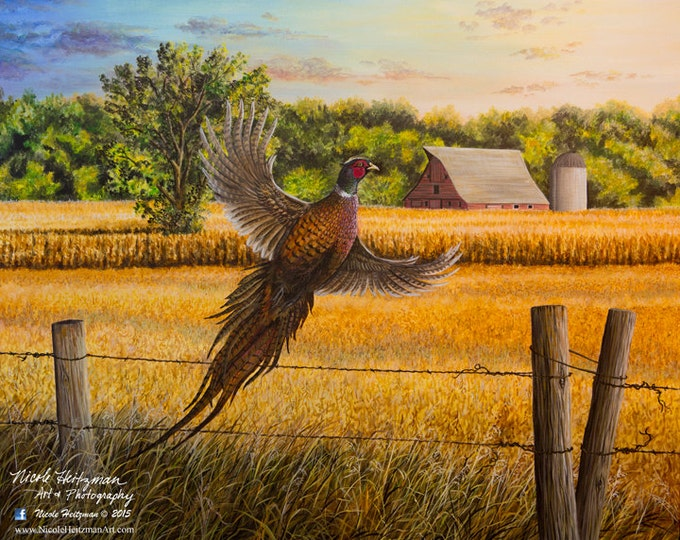 Homestead Heritage Farm Painting Gift for Dad Pheasant Art Pheasant Print Wildlife Art Farm Print Canvas Giclee Print by Nicole Heitzman
