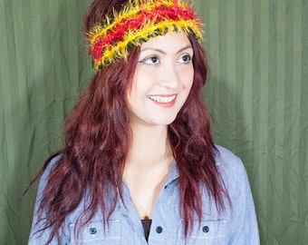 Colorful hand knit head wrap
