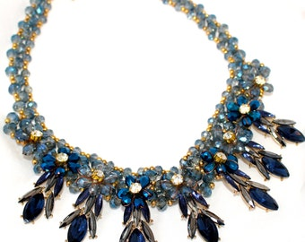 Italian Blue Florentine Floral Beaded Necklace 1920s Style