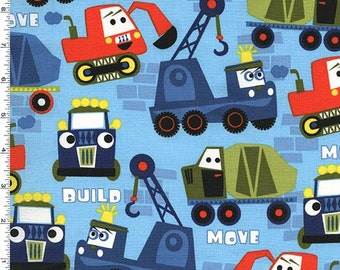 Little Movers - Build More Fabric - Nite - Sold by the 1/2 Yard