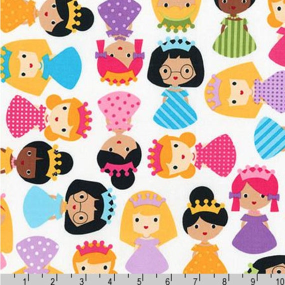 Girl friends princess kids fabric bright sold by the 1 for Bright childrens fabric